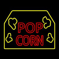 Red Popcorn Logo With Border Neonskylt