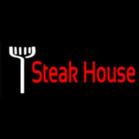Red Steakhouse With Fork Neonskylt