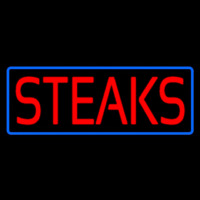 Red Steaks With Blue Border Neonskylt