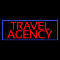 Red Travel Agency Blue Border Neonskylt