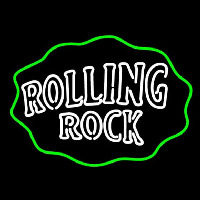 Rolling Rock Double Line Logo With Wavy Circle Neonskylt