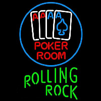 Rolling Rock Poker Room Beer Sign Neonskylt