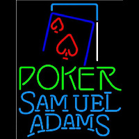 Samuel Adams Green Poker Red Heart Beer Sign Neonskylt