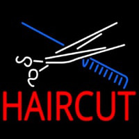 Scissor And Comb Haircut Neonskylt