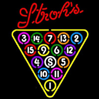 Strohs 15 Ball Billiards Pool Beer Sign Neonskylt
