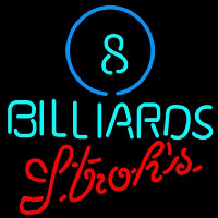 Strohs Ball Billiards Pool Beer Sign Neonskylt