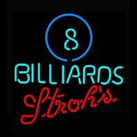 Strohs Ball Billiards Pool Neonskylt
