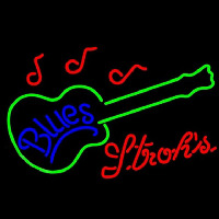 Strohs Blues Guitar Beer Sign Neonskylt