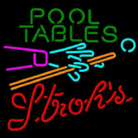 Strohs Pool Tables Billiards Beer Sign Neonskylt