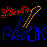 Strohs Rock Guitar Beer Sign Neonskylt