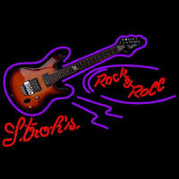 Strohs Rock N Roll Electric Guitar Beer Sign Neonskylt