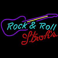 Strohs Rock N Roll Guitar Beer Sign Neonskylt