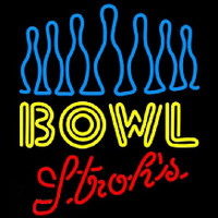Strohs Ten Pin Bowling Beer Sign Neonskylt