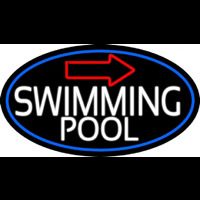 Swimming Pool With Arrow With Blue Border Neonskylt