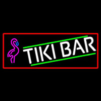 Tiki Bar Flamingo With Red Border Neonskylt
