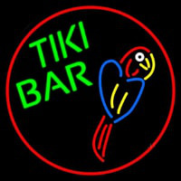 Tiki Bar Parrot Oval With Red Border Neonskylt