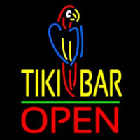 Tiki Bar With Parrot Open Neonskylt