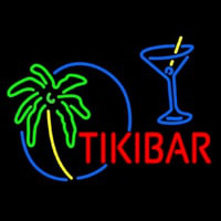 Tiki Bar With Wine Glass Neonskylt