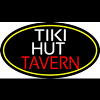 Tiki Hut Tavern Oval With Yellow Border Neonskylt