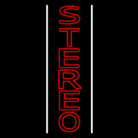 Vertical Red Stereo Block White Line Neonskylt