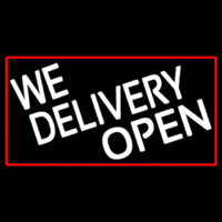 We Deliver Open With Red Border Neonskylt