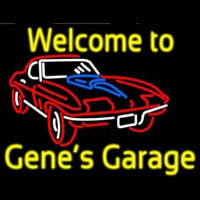 Welcome to Genes Garage Car Logo Neonskylt