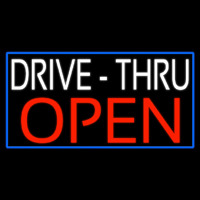 White Drive Thru Red Open With Blue Border Neonskylt