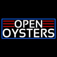 White Open Oysters With Blue Border Neonskylt