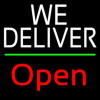 White We Deliver Green Line Open Neonskylt
