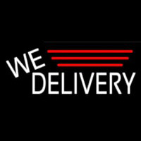 White We Deliver Neonskylt