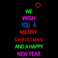 Wishing Merry Christmas Happy New Year Neonskylt