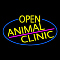 Yellow Animal Clinic Oval With Blue Border Neonskylt