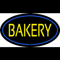 Yellow Bakery Oval Blue Neonskylt