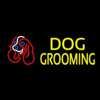 Yellow Dog Grooming With Logo Neonskylt