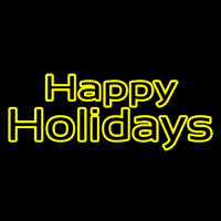 Yellow Double Stroke Happy Holidays Neonskylt