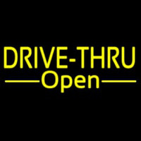 Yellow Drive Thru Open Neonskylt