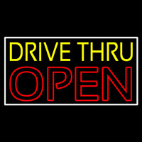 Yellow Drive Thru Open Red Neonskylt