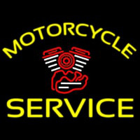 Yellow Motorcycle Service Neonskylt