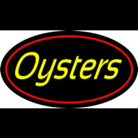 Yellow Oysters Red Oval Neonskylt