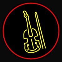 Yellow Violin Logo Red Border Neonskylt