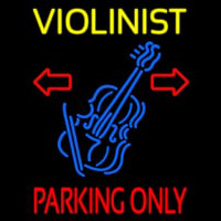Yellow Violinist Red Parking Only Neonskylt